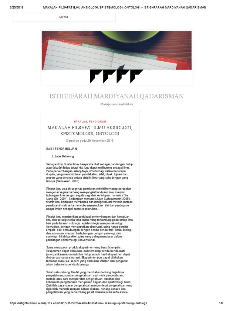 Makalah Filsafat Ilmu Aksiologi Epistemologi Ontologi Istighfarah Mardiyanah Qadarisman Pdf