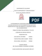 La Uniformidad de Los Recursos Administrativos y La Segunda Instancia en Los Procedimientos Sanci