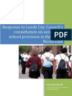 Response to Leeds City Council's Proposal for Secondary Provision in the ONE