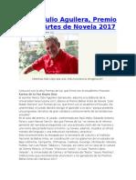Marco Tulio Aguilera, Premio Bellas Artes de Novela 2017