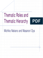 Thematic Roles and Thematic Hierarchy