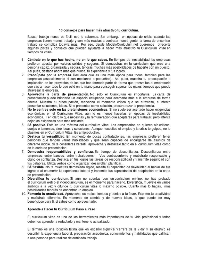 Lujoso Escribiendo Un Buen Curriculum Vitae Consejos Molde - Ejemplo ...