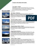 Los 10 Picos Más Altos Del Mundo