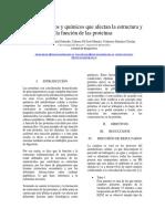 Factores Físicos y Químicos Que Alteran La Función y Estructura de Las Proteínas