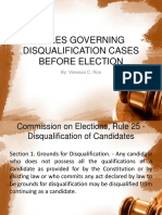 Rules Governing Disqualification Cases Before Election