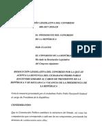 Texto preliminar del Congreso que declara vacancia de PPK por traición a la patria