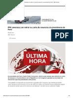 PPK Amenaza Con Retirar Su Carta de Renuncia a La Presidencia de Perú - BBC Mundo