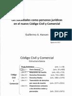 Hansen - Las Sociedades Como Personas Jurídicas en El Código Civil y Comercial - Agosto 2017