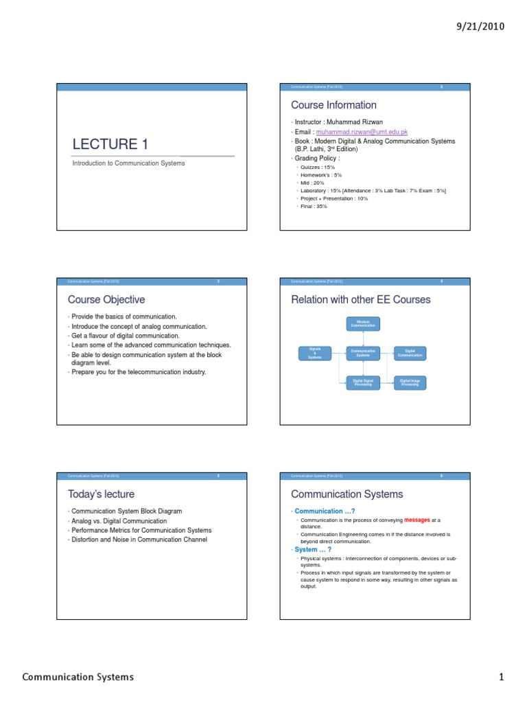 Lecture+01 | Telecommunication | Digital Signal