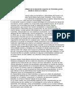 Beneficios y Dificultades de La Educación Superior en Colombia Yendo Desde Lo Micro a Lo Macro
