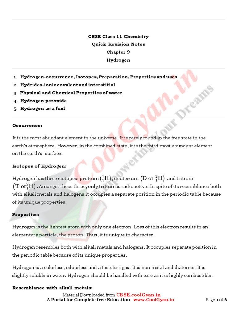 11 Chemistry Notes Ch09 Hydrogen | Hydride | Hydrogen