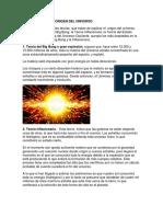 Teorías Sobre El Origen Del Universo y Las Galaxias