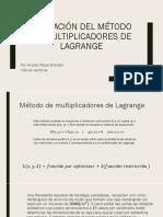 Aplicación del método de multiplicadores de LaGrange