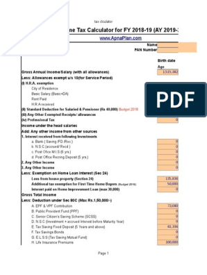 Income Tax Calculator Fy 2018 19 | Saving | Financial Services