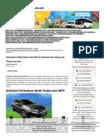 Perbedaan Mobil Sedan Dan MPV Di Indonesia