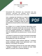Declaració del President Torrent al Parlament després dels empresonaments