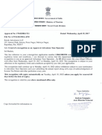 Renok Adventures Approval Letter Ministry of Tourism