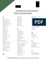 Table de Mermas de Mercadería Para Gastronomía