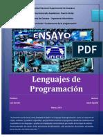 Ensayo de Lenguaje de Programación :Student Español