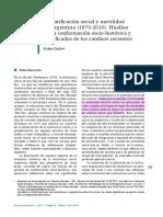 Estratificación Social y Movilidad en La Argentina (1870-2010). Huellas de Conformación Socio-histórica y Significados de Los Cambios Recientes
