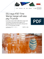Doj Says at t Time Warner Merger Will Raise Pay Tv Prices