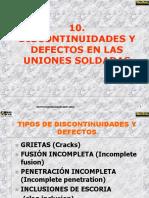 Discontinuidaes y Defectos en las uniones soldadas