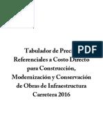 SCT - Tabulador de Precios Referenciales a Costo Directo Para Construcción.