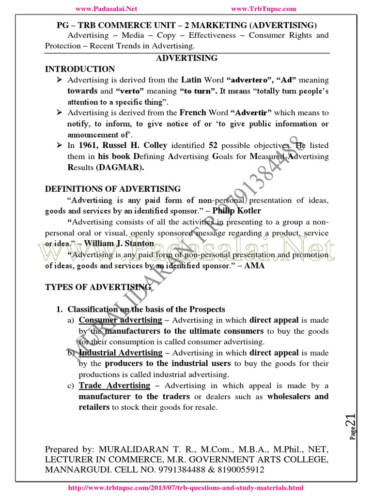 128 Pgtrb Commerce Study Material Unit 8   Advertising   Direct ...