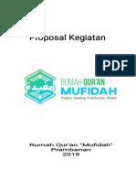 Proposal Rumah Qur'an Mufidah Prambanan 2018