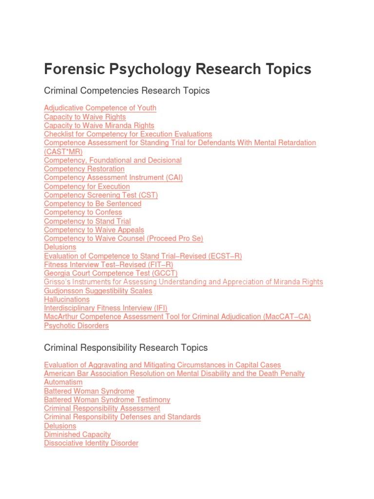 forensic psychology essay topics