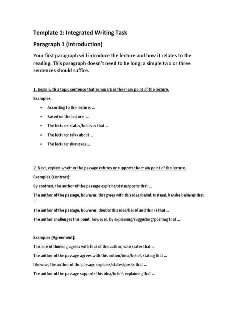 Template Writing Paragraph Idea