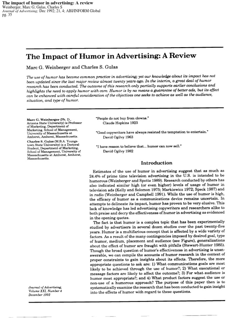 impact of humor in advertising