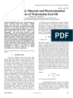 Phytochemical Minerals and Physicochemical Properties of Watermelon Seed Oil