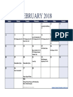 parent monthly events calendar 2nd semester - feb18