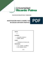 INVESTIGACIÓN PARA EL DISEÑO & EDIFICACIÓN EN SUELOS CON NAPA FREÁTICA ALTA