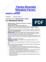 Demand Factor-Diversity Factor-Utilization Factor-Load Factor