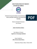 Producción de Gas de Síntesis Con Dos Biomasas Diferentes en Un Reactor Pirolizador Alotérmico, De La Universidad Nacional de Colombia