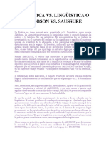 La Poética vs. Lingüística o Jakobson vs. Saussure