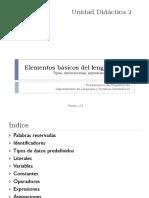 Unidad Didáctica 2. Elementos Básicos Del Lenguaje Java