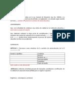 Modelo de Resolución Directoral Para EBR