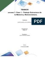 Unidad 1 Fase 1 - Trabajo Estructura de La Materia y Nomenclatura