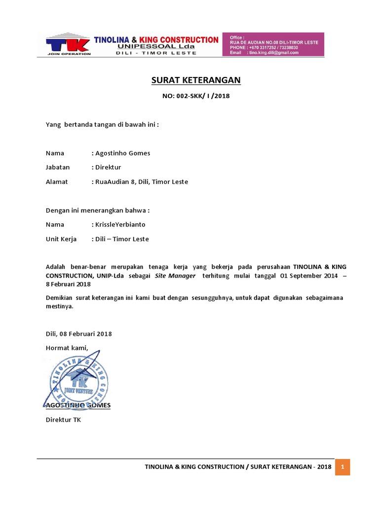 Surat Keterangan Kerja Untuk Direktur - Bagikan Contoh
