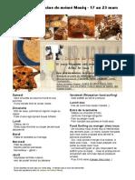 Menu de La Cuisine de Meme Moniq 17 Au 23 Mars