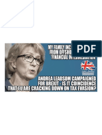 Andrea Leadsom's Family Income is Offshore, Avoiding Tax. She is a Big Advocate of Brexit. It is in Her Financial Interest to Avoid the EU's Crackdown on Tax Evasion.