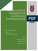 Clasificación de Yacimientos de Acuerdo a Su Diagrama de Fase Investigacion