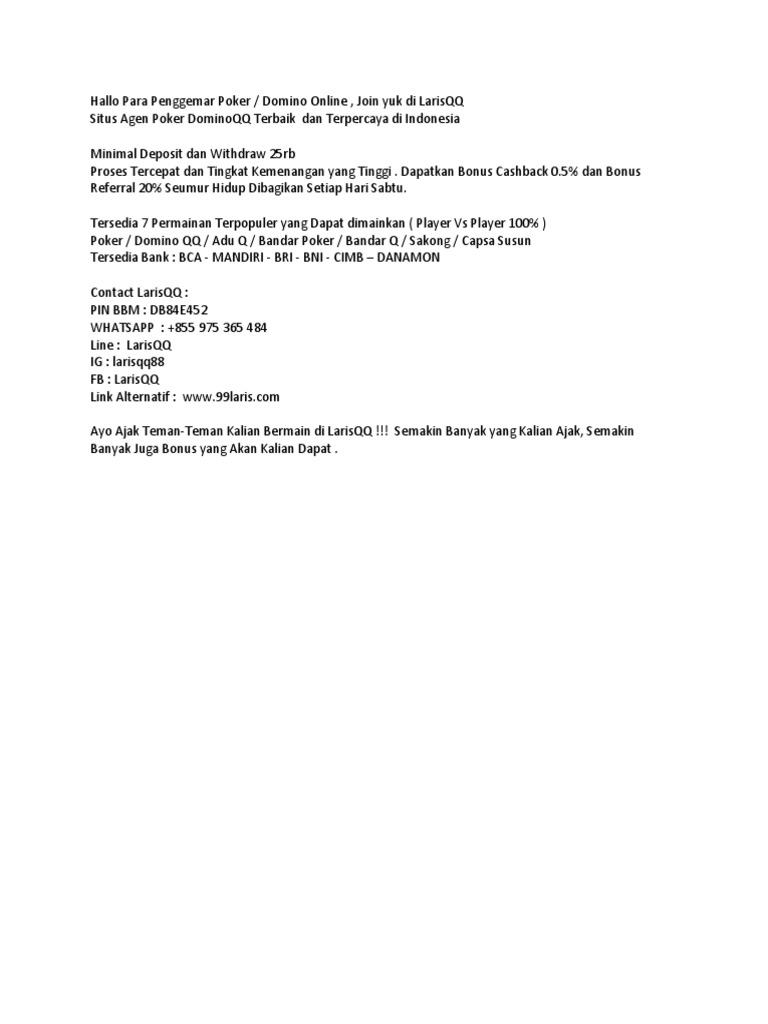 Daftar Larisqq Situs Domino Qq Judi Poker Online Terbaik Dan Terpercaya Indonesia