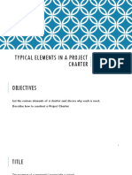 Typical Elements in a Project Charter
