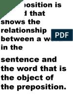 Preposition and Prepositional Phrase