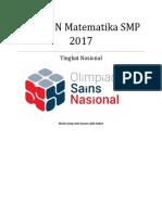 Soal OSN SMP Matematika 2017 Tingkat Nasional