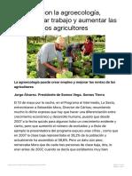 La Vega, con la agroecología, puede crear trabajo y aumentar las rentas de los a